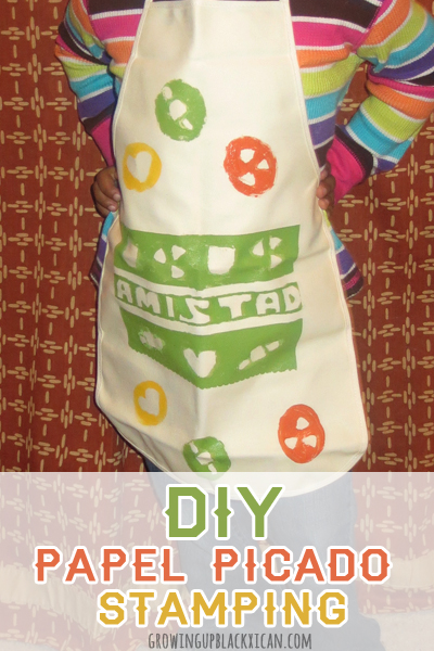 diy papel picado stamped apron