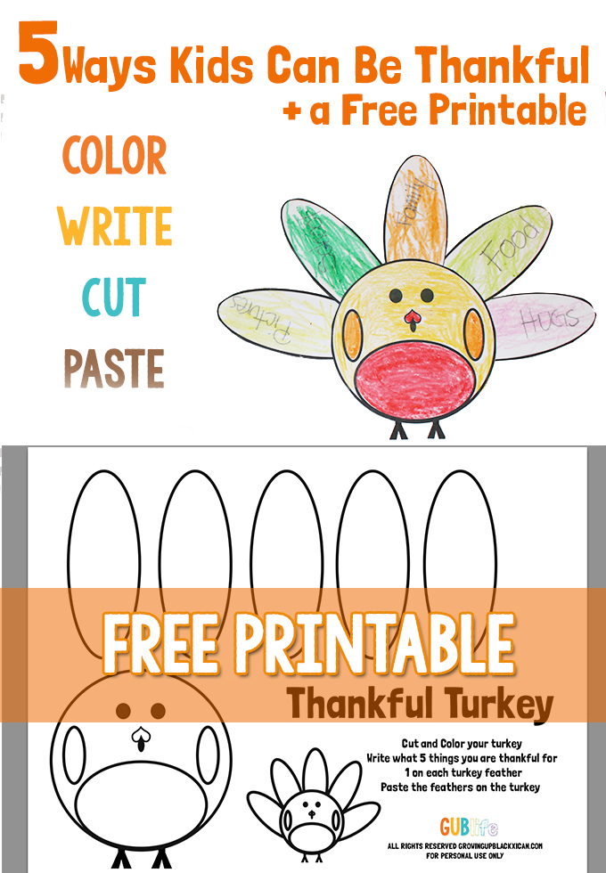 5 ways kids can be thankful + printable