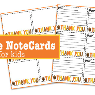 Thank you notecards for kids
