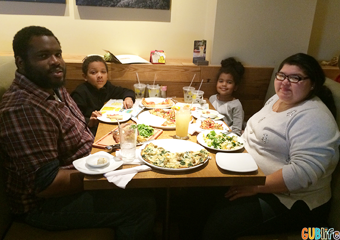 family dinner at California Pizza Kitchen