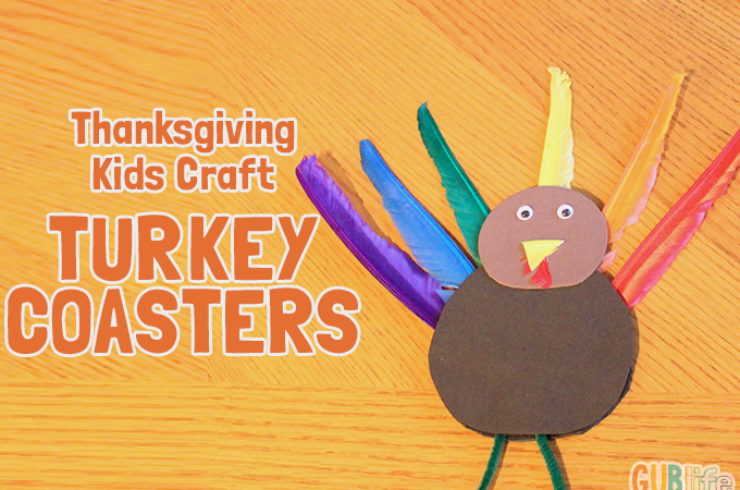 kids craft thanksgiving - turkey coasters