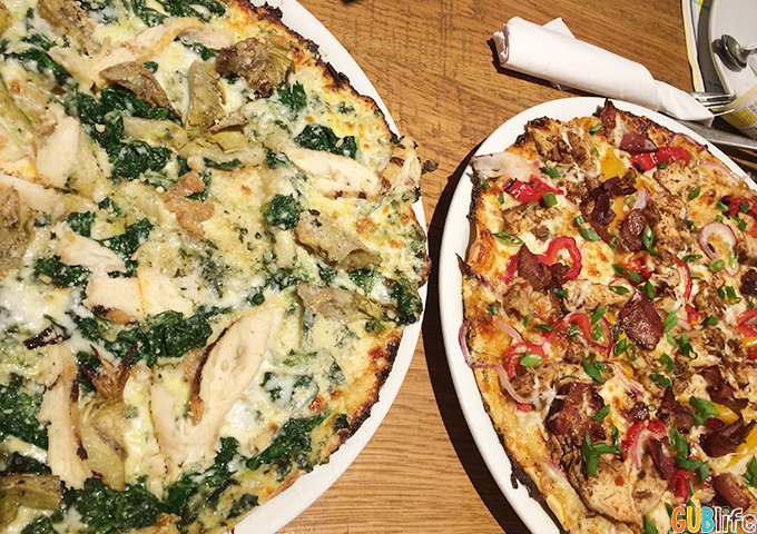 pizza at california pizza kitchen- jerk chicken and spinach artichoke with chicken