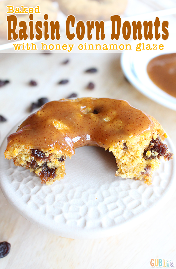baked raisin corn donuts with honey cinnamon glaze