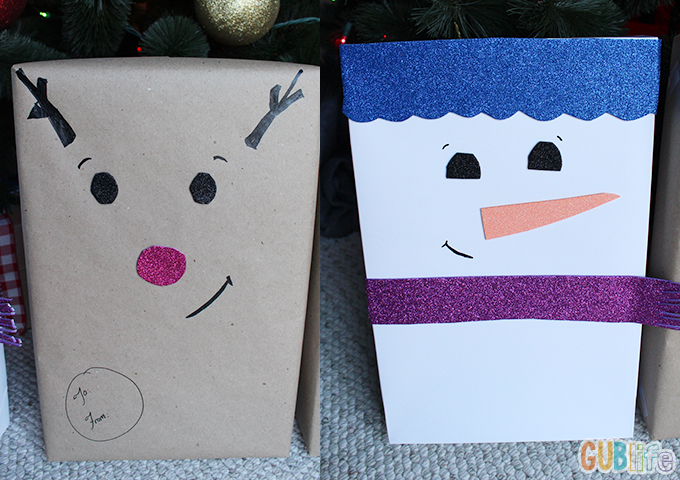 diy jolly friends wrapping ideas- add face with different expressions