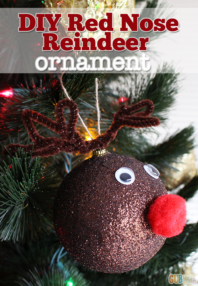 diy red nose reindeer ornament