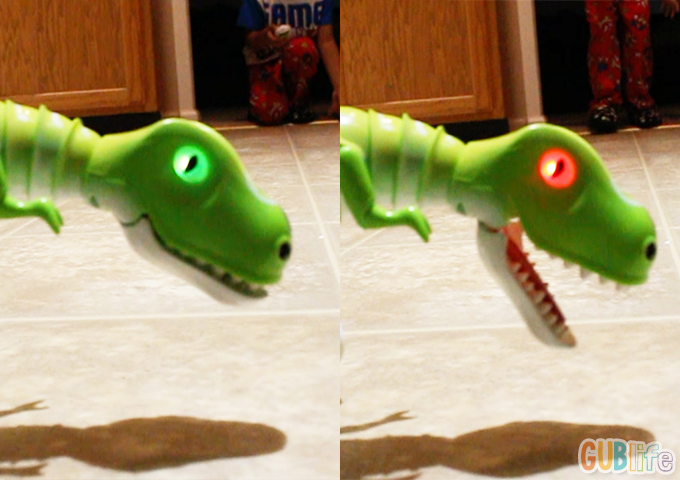 zoomer dino red eyes green eyes
