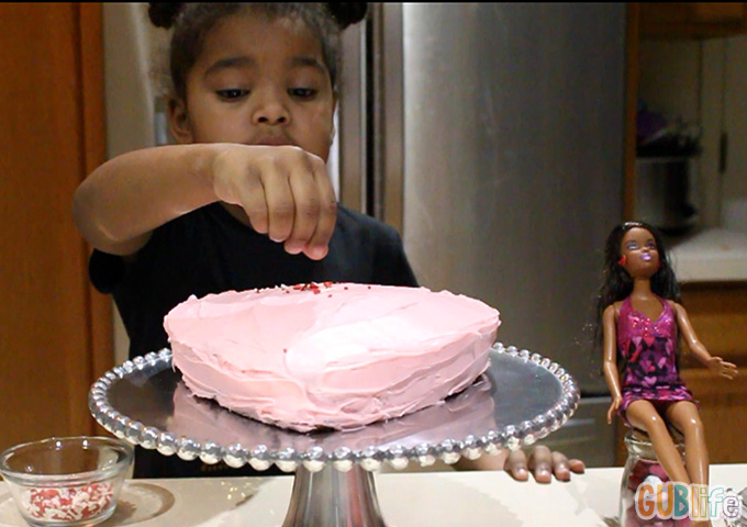 cake decorating with barbie valentine