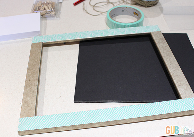 decorated frame with scotch masking tape