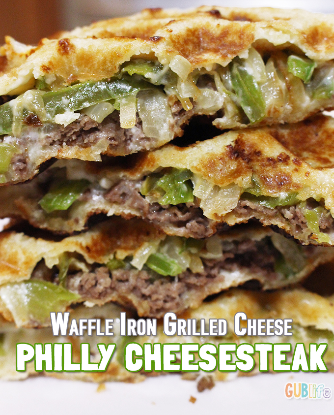 waffle iron grilled cheese- philly cheesesteak-