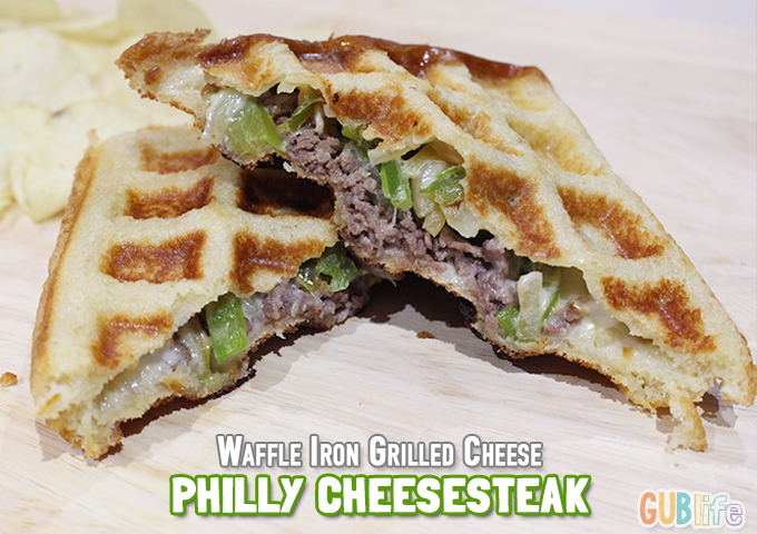 waffle iron grilled cheese philly cheesesteak