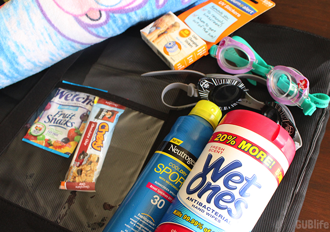 Water Park Family Bag Essentials- snacks sun protection and fun