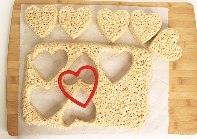 chocoled drizzle rice treats-heart cut outs
