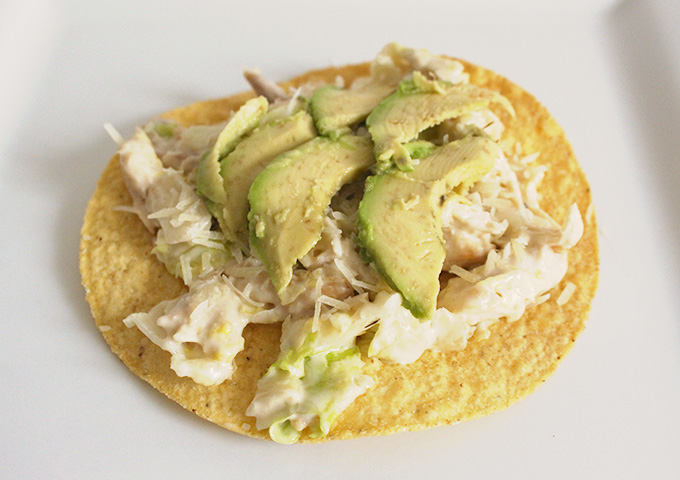 chicken caesar tostada- avocado