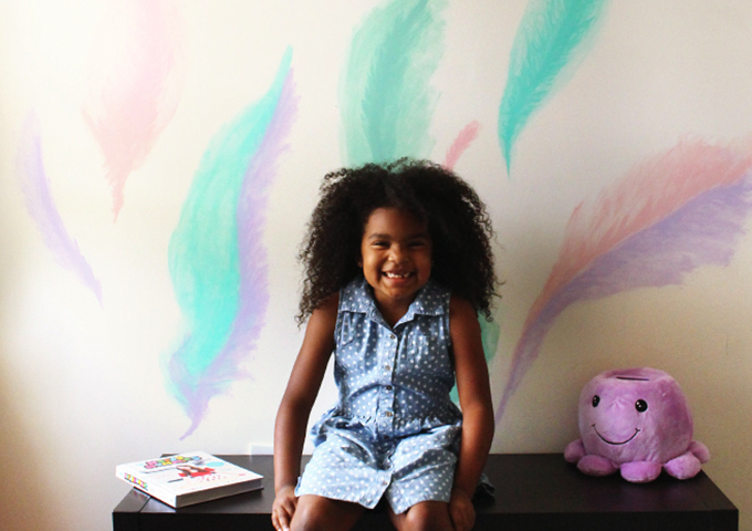 DIY Feather Watercolor Mural