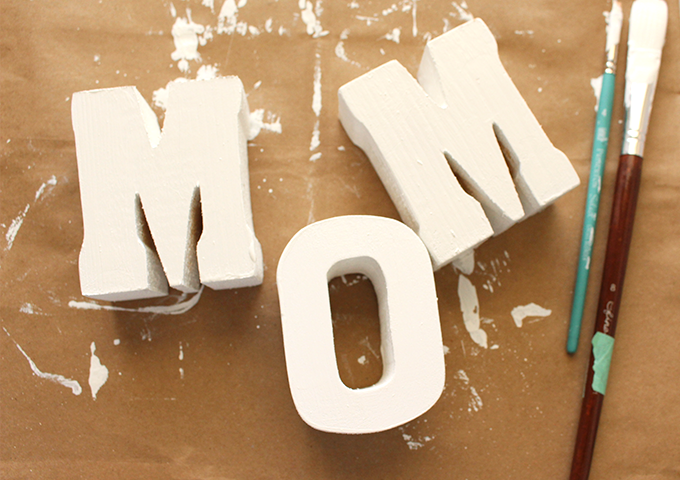 DIY MOM wooden letters- all white