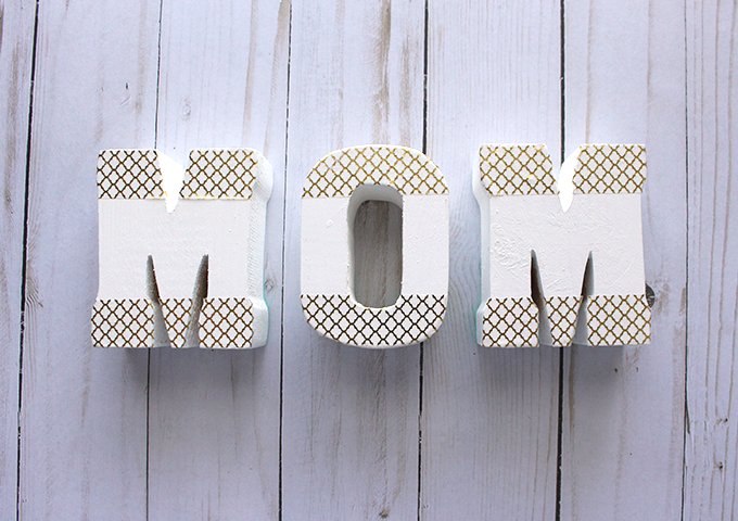 DIY MOM wooden letters- washi